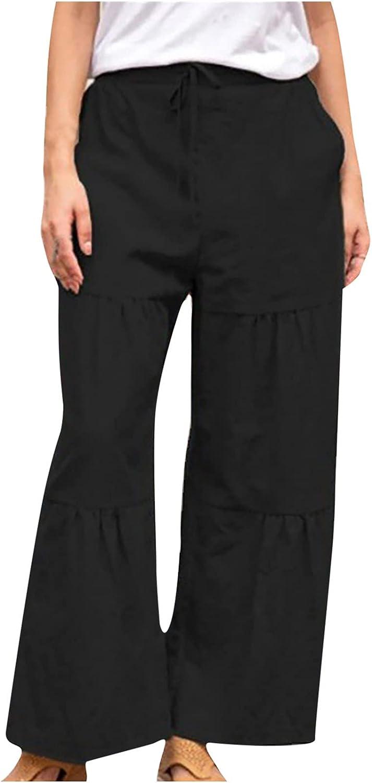 MIVAMIYA Women's Comfy Cotton Linen Lounge Pants Pajamas Drawstring Wide Leg Palazzo Casual Trousers Jogger Sweatpants