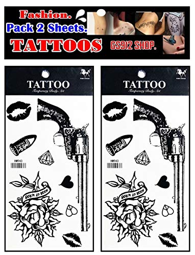 GS912 Tattoos. Gun Rose Cartoon Tattoos Temporary Waterproof Fantasy Body Art Fake Tattoo Make up Neck Shoulder Upper arm for Men Women (Pack 2 Sheets.) (04)
