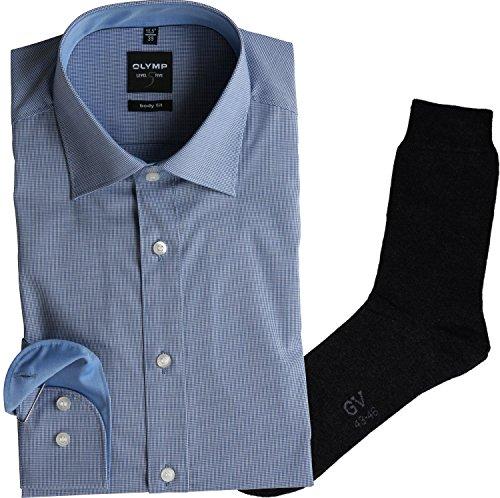 OLYMP Herrenhemd Level Five, Body fit, Langarm, New York Kent Kragen, royal kariert + 1 Paar hochwertige Socken, B&le