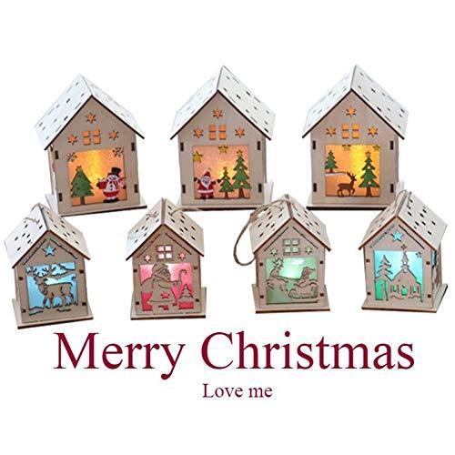 lzndeal Lámpara de Navidad LED Santa Claus Casa Árbol de Navidad Adornos Lámpara Cabina Colgante Decoración...
