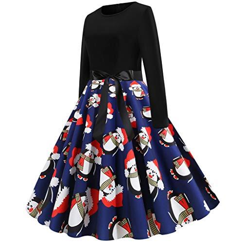 Binggong Kleid Damen Langarm Weihnachtskleid mit Schneeflocke Drucken Frau Rockabilly Retro...