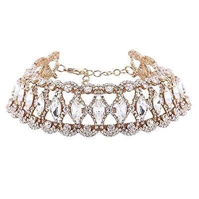 GUYUEXING Luxury Rhinestones Choker Wide Layered Crystal Necklace for Women Girls