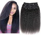 Clip dritta Morichy crespa nelle estensioni dei capelli umani Clip da 12 pollici per capelli grossi Yaki Clip per capelli per donne nere 10 pz / set 120g Colore naturale