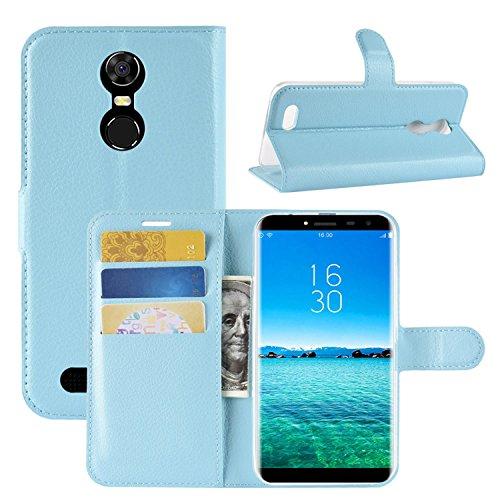 HualuBro Oukitel C8 Hülle, Premium PU Leder Leather Wallet HandyHülle Tasche Schutzhülle Flip Hülle Cover mit Karten Slot für Oukitel C8 Smartphone (Blau)