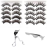 CINLITEK 10 Pairs 5 Styles Natural False Eyelashes Fake Eyelashes Reusable 3D Handmade False Eyelashes Set for Natural Look with Free False Lashes Applicator, Eye lashes Curler