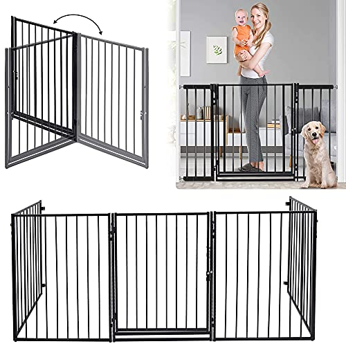 """122 - Inch Baby Gate with Door Extra Wide 5 Panels Safety Pet Dog Gates Indoor for Openings Stairs Doorways Fireplace Fence Adjustable Metal Baby Gate Tall 30"""" Child Gates"""