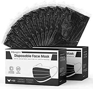 100/200 Pack 3-Ply Hyegiir Black Individually Wrapped Disposable Breathable Face Masks For Daily Protection