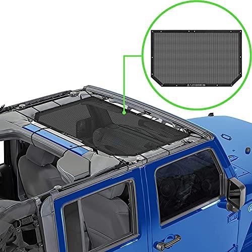 Alien Sunshade Jeep Wrangler JK & JKU (2007-2018) – Front Mesh Sun Shade for Jeep JK Unlimited - Blocks UV, Wind, Noise - Bikini Jkini Top Cover for Sport, Sport S, Sahara, Rubicon (Black)