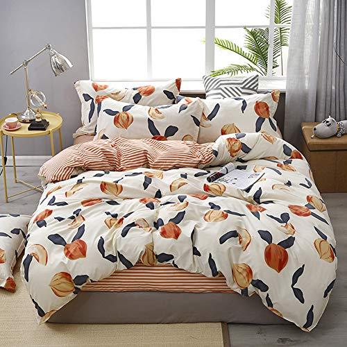 Peaches Bedding Fruit Duvet Cover Set Peaches and Red Stripes Reversible Design Peach Striped Bedding Sets King (104x90) 1 Duvet Cover 2 Pillowcases (King, Peach)