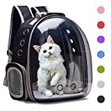Henkelion Cat Backpack Carrier Bubble Carrying Bag, Small Dog Backpack Carrier for Small Medium Dogs Cats, Space Capsule Pet Carrier Dog Hiking Backpack, Airline Approved Travel Carrier - Black