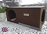 Hop Inn Rabbit Hideaway Shelter (Oak), LARGE for Big Rabbits and Cats too, READY MADE and Built to Last, 60cm L x 30.5cm W x 25.5cm H - Entrances 20cm - Screwed Together - Hand Made in the UK