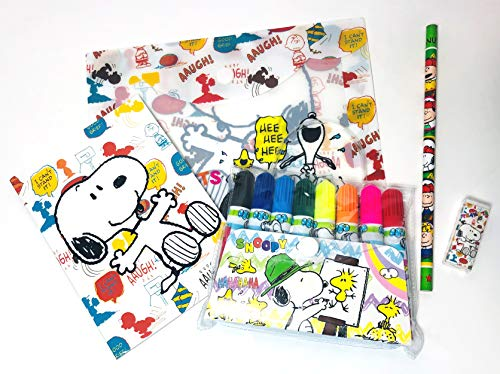 スヌーピー 12点文具セット【新学期・文房具・プレゼント】巾着袋1枚付