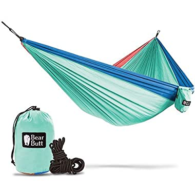 Bear Butt #1 Double Hammock, A Start Up Company with Top Quality Gear at Half the Cost of the Other Guys, Touquoise/Dark Blue/Coral