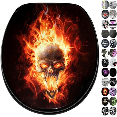 WC Sitz, viele schöne schwarze WC Sitze zur Auswahl, hochwertige und stabile Qualität aus Holz, Totenkopf in Flammen