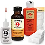Hop 9 Gun Cleaning Kit: Bore Solvent Cleaner, Precision Oiler, Lubricating Oil Refill, 40 Patches for 9mm - 45 9mm .40 .44 & .45 Caliber