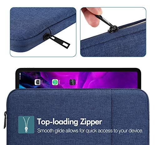 MoKo Sleeve Tasche Kompatibel mit iPad Pro 11, iPad 8th 7th Gen 10.2, iPad Air 4 10.9, Galaxy Tab A 10.1, Baumwolle und Leinen Tablethülle mit Reißverschluss und 2 Tasche Schutzhülle, Marineblau