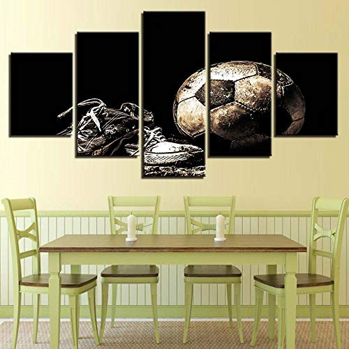 HSBZLH 5 Panel Canvas Wall Art Big Wall Decor Printed Painting Flame Basketball Decoration Picture Sporting Goods Poster Wall Art for Bathrooms