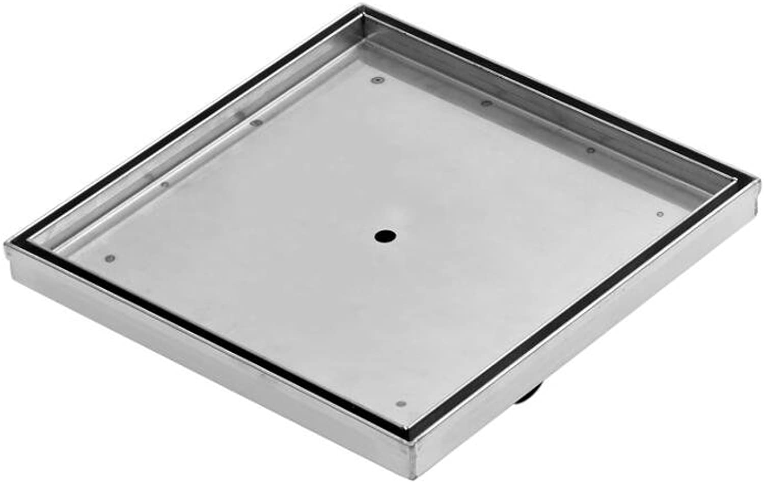 Milano 200mm Recessed Square Tile Insert Stainless Steel Hidden Shower Drain Channel Waste for Wet Rooms - Brushed Steel Finish
