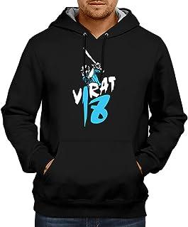 CUPIDSTORE Men's Sweatshirts - Cricket Hoodie - Virat Kohli 18 Blue Black Hoodies for Mens