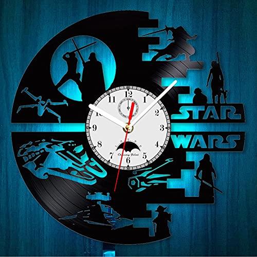 """Cheemy Joint Star Wars Vinyl-Wanduhr LED 12"""" Vinyl-Schallplatte, Home Interior Kunstwerke, Geburtstagsgeschenk. kreative hängende Nachtlampe Uhr 7 Lichtfarbe. (Modell A3-4)…"""