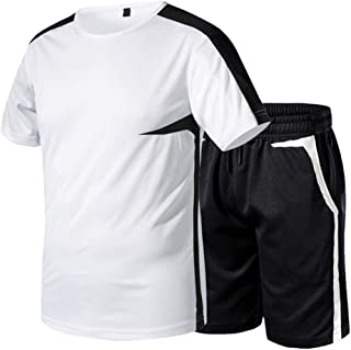 pipigo Mens T-Shirt 2 Pcs Outfits Linen Casual Plus Size Solid Color Shorts Tracksuit