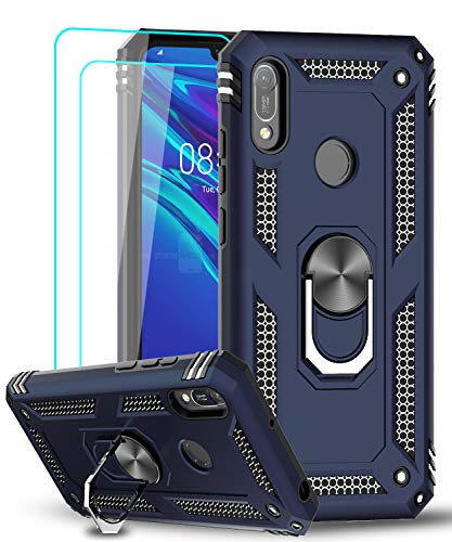 LeYi für Huawei Y6 2019/Y6s (2019) Hülle Honor 8A Handyhülle mit Panzerglas Schutzfolie(2 Stück), 360 Grad Magnetische Ringhalter Cover TPU Schutzhülle für Hülle Huawei Y6 2019 Handy Hüllen Blau