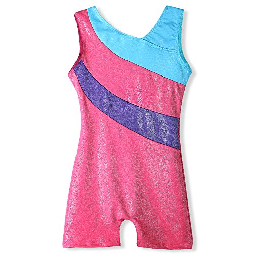 Gymnastics leotard for girls with shorts Size 6-7 years old shiny blue stripe pink
