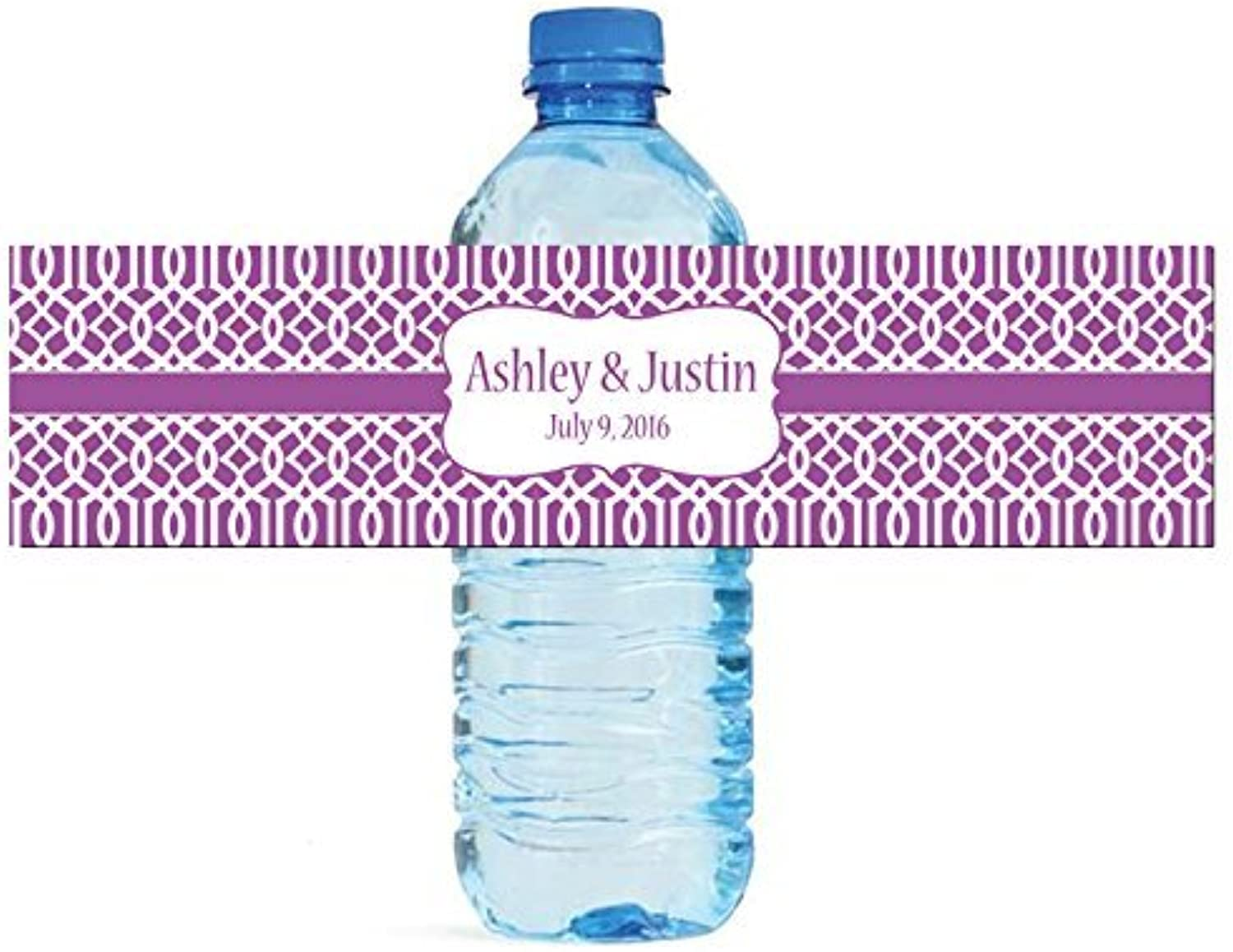 100 Purple Trellis Mgoldccan Background Wedding Water Bottle Labels Engagement Party 8x2 by DesignThatSign