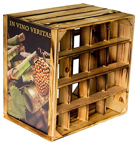 Kistenkolli Altes Land Weinregal 16er weiß/Natur/geflammt Maße 40x40x27cm Regalkiste Flaschenablage Weinregal Apfelkiste/Weinkiste (Geflammt inkl. Rahmen in Vino Veritas)
