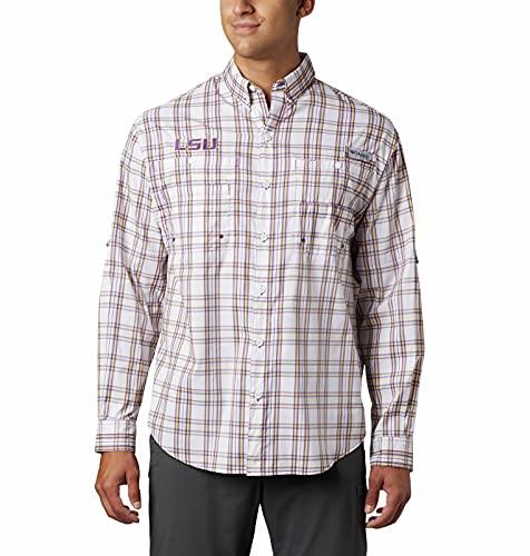 NCAA Herren Collegiate Super Tamiami Langarmshirt, Herren, Collegiate Super Tamiami Long Sleeve Shirt, LSU Schottenkaro, Violett, Medium