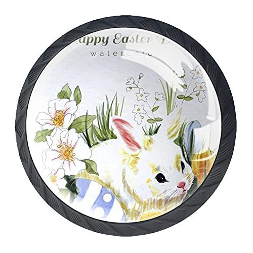 Acuarela blanca conejo huevo de gallina feliz Pascua, paquete de 4 pomos de gabinete para aparador modernos redondos para oficina, hogar, cocina, baño