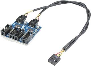 マザーボードのUSB 9ピン 増設 Kalolary 内部用4ポートUSB2.0 HUB 9ピンUSBヘッダーオス1〜4雌エクステンションスプリッターケーブル9Pコネクターアダプター