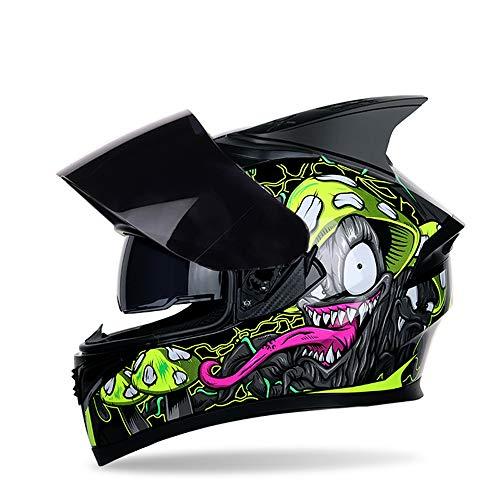 MOTUO Motorradhelm Integralhelm Roller Helm für Damen Herren Fullface Helme mit Doppelvisier Sonnenblende, Klarem Visier Oder Schwarzem Visier, Grün Glänzend,Schwarz,XL