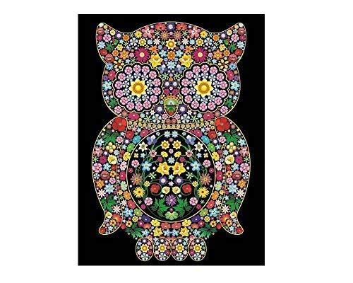 Colorvelvet - Dibujo Buho Flores 47 x 35 - L84