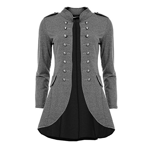 Mayaadi 6066 Damen Jacke Blazer Admiral Uniform Mantel mit Military Knopfleiste Vokuhila Grau-M