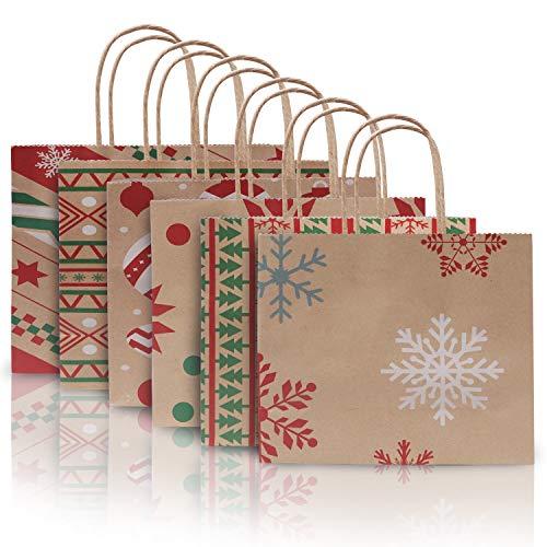 Bolsas Papel Navidad (Pack de 24) Bolsa de Papel Kraft Envolver Regalos 22cm x 9cm x 18,5cm Bolsas Papel con Asas Fiesta Navidad, Regalos