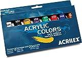 Tinta Acrílica Fosca Estojo com 8 Cores, Acrilex 131080000, Multicor, 20 ml, Pacote de 3