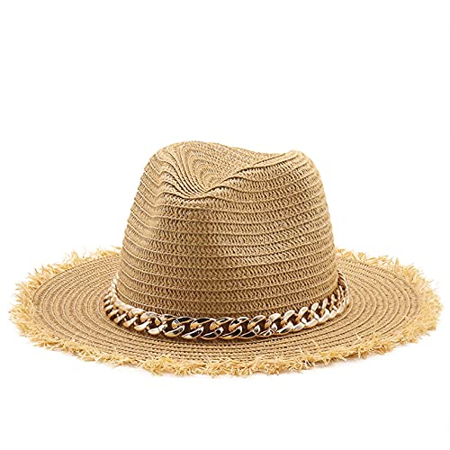 sombrero playa mujer Sombrero paja forma suave Panamá Natural, sombrero verano para mujeres / hombres, cadena dorada, gorra playa ala ancha, protección UV, sombrero Fedora, sombrero jazz para niña