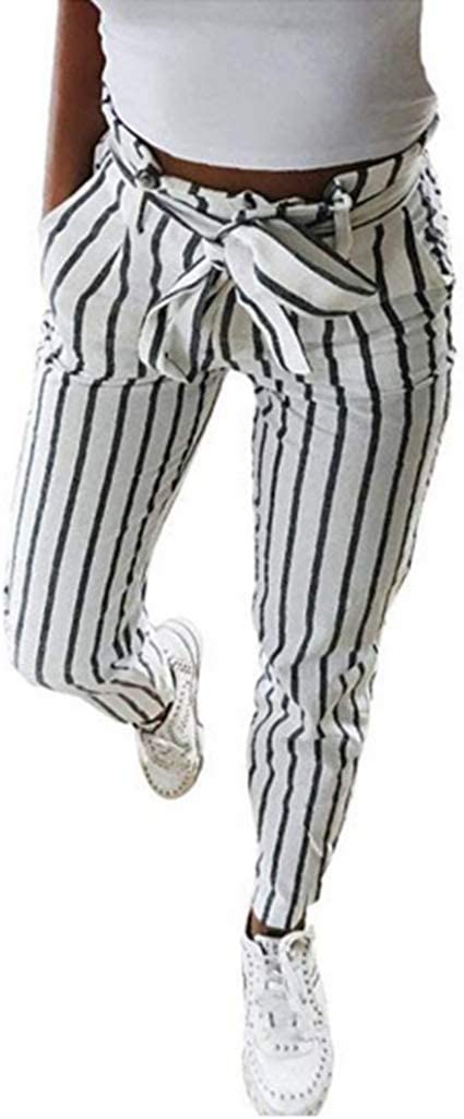 Mujer Flacas Pantalones Vaqueros A Rayas A Rayas Corbata Cintura Alta Damas Pantalon Pantalon Skinny Women Striped Long Jeans Tie High Waist Ladies Pants Trouser Pantalon De Mujer Blanco L Amazon Es Oficina