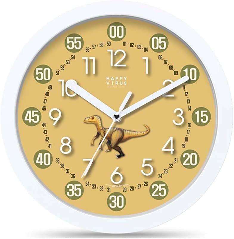 HAPPY V RUS 4015 Children S Learn The Time Design Illustration Wall Clock Low Noise 10 6Inch