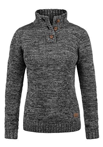 DESIRES Philicita Damen Winter Strickpullover Troyer Grobstrick Pullover mit Stehkragen, Größe:M, Farbe:Black (9000)