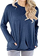 lymanchi Lady Lightweight Long Sleeve Top Round Neck Pocket Loose Pullover Shirt Blue 3X
