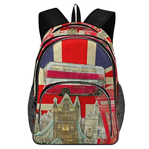 College Schule Laptop Rucksack 15,6 Zoll - Collage Big Ben London Bus Tower Bridge Palace Westminster Wasserdichte Studenten Bookbags mit USB-Ladeanschluss für Frauen Mädchen
