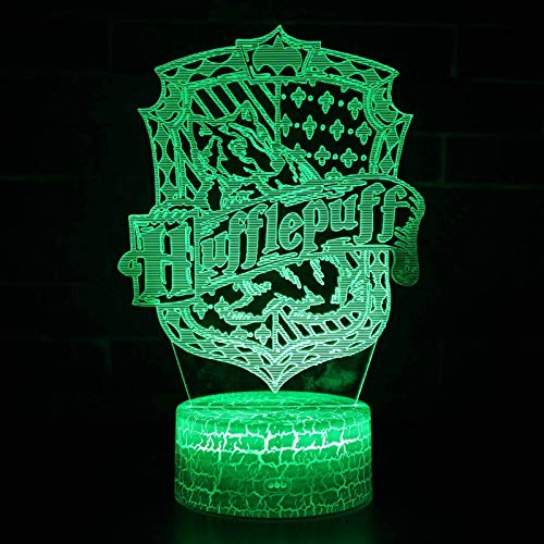 Vitila Harry Potter 3D Led Ilusión Luz Noche Luz Luz Mesita De Noche Cambio Colorido Regalo Creativo, Blanco Base: Toque Colorido + Control Remoto