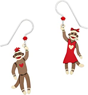 Boy and Girl Sock Monkey Drop Earrings 1703