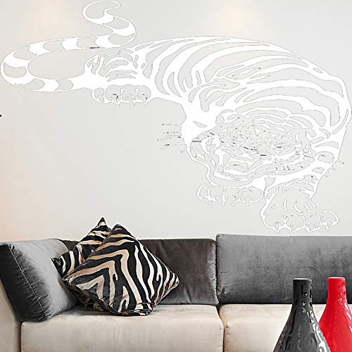 yiyiyaya Fierce Tiger Wandaufkleber PVC Wandaufkleber Wandkunst Tapeten für Wohnkultur Wohnzimmer Schlafzimmer Dekoration Zubehör weiß 30 cm X 38 cm