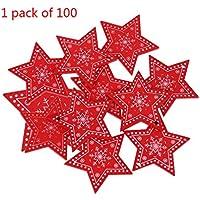 Qiman - 100 piezas de adornos navideños para el Año Nuevo, tallado de madera natural, estrella roja, árbol de Navidad colgante, decoración del hogar, regalos DIY