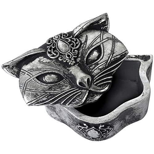 Alchemy Gothic Caja o Joyero Pequeño Efecto Antiguo con Gato Sagrado - Plateado