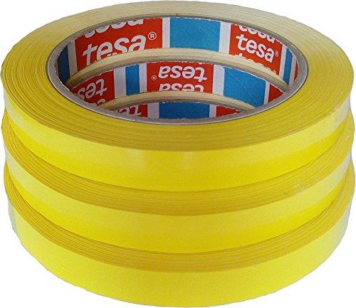 3 Rollen Klebeband Markierungsband tesafilm 4204 PVC gelb, 12mmx66m | Ideal für Tischabroller und Beutelverschlußmaschinen