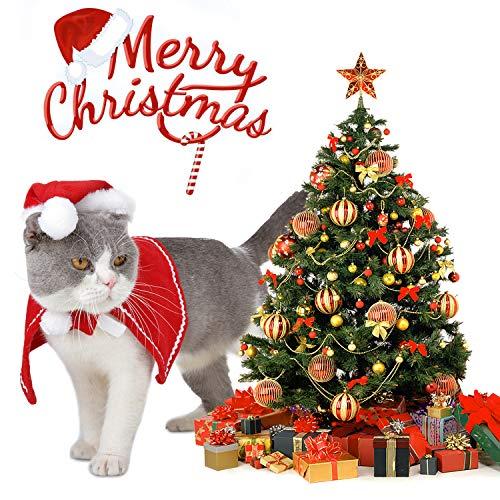 Legendog Cat Christmas Costume,Adjustable Cat Santa Hat with Christmas Cloak, Dog Christmas Outfit D - http://coolthings.us